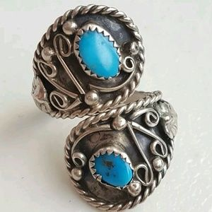 Navajo Sterling Silver Turquoise  Ring Sz Adj